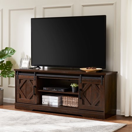 WAMPAT Sliding Barn Door TV Stand for 70 Inch Flat Screen, Console Table Storage Cabinet in Rustic Brown Wash, Entertainment Center for Living Room, 59 Inch