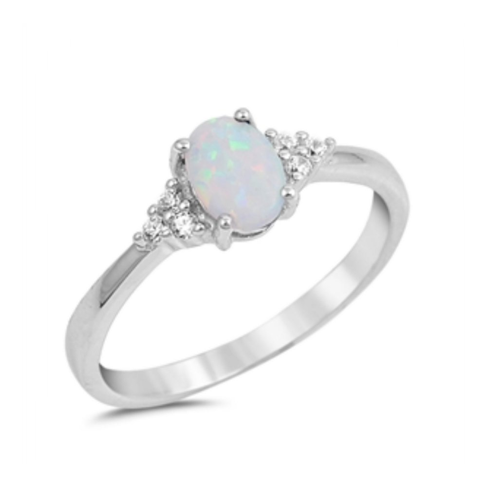 925 Sterling Silver Lab opal Gem Ring by Royal Design
