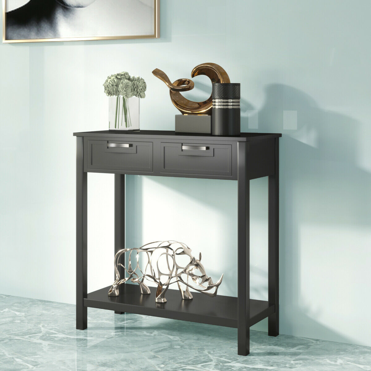 - Gymax Accent Console Table Entryway Sofa Foyer Table Storage Shelf
