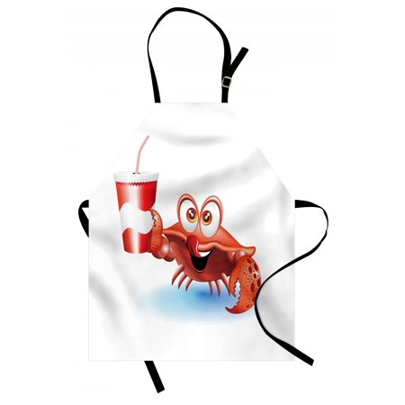 Thirsty Paper (Crabs Apron Thirsty Marine Animal with Drink on a Paper Cup with Straw Summertime Theme, Unisex Kitchen Bib Apron with Adjustable Neck for Cooking Baking Gardening, Vermilion White Blue, by)