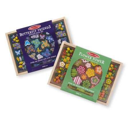 Melissa & Doug Wooden Bead Kit 2 Pack -- Butterfly & Flowers Craft Kit - Wooden Halloween Crafts Adults