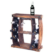 Decorative Wooden 8 Bottle Rustic Wine Rack with Glasses Holder