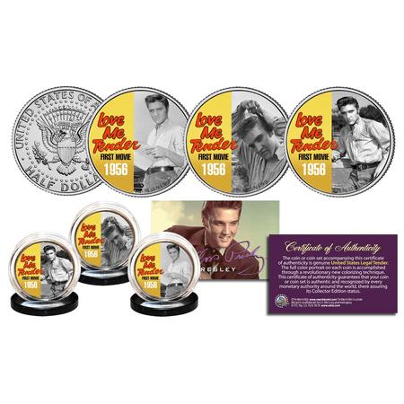 Elvis Presley Love Me Tender Jfk Half Dollar 3 Coin Set Officially Licensed B W