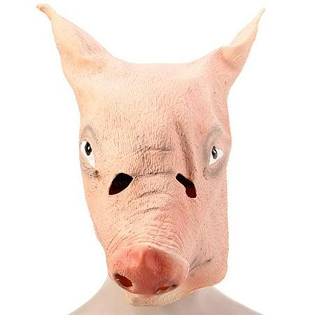 Artificial Halloween Latex Mask Masquerade Parties Cosplay Gadget, Pig Head (Pug Halloween Mask)