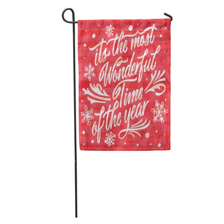 SIDONKU Celebration Lettering Retro Its The Most Wonderful Time of Year Christmas Garden Flag Decorative Flag House Banner 12x18 (Parts Of The Philippine Flag And Its Meaning)