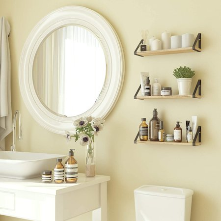 ponza floating shelves wall mounted set of 3, laundry room
