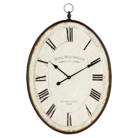 Aspire Home Accents Ines Large Oval 23.5 in. Wall Clock