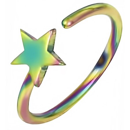 Gauge Surgical Steel Iron Cross - 20g 8mm Surgical Steel IP Plated  Star Nose Hoop Ring