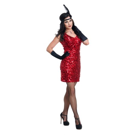 Womens Dazzling Darling Flapper Red Sequin Dress Costume for $<!---->