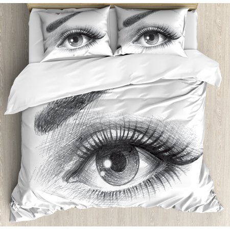 Eye Queen Size Duvet Cover Set, Pencil Drawing Artwork of a Staring Female Eye with Long Lashes and a Curvy Eyebrow, Decorative 3 Piece Bedding Set with 2 Pillow Shams, Grey White, by Ambesonne