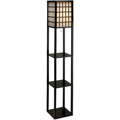 Adesso Middleton Shelf Floor Lamp, Black Painted Finish