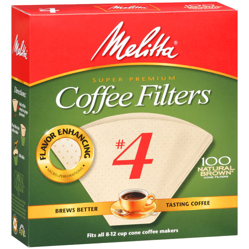 Melitta #4 Coffee Filters, Natural Brown, 100 count