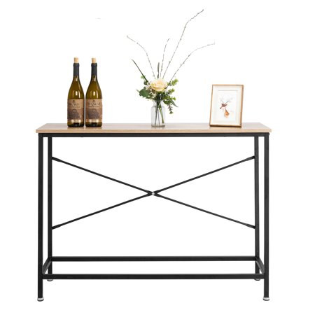 Ktaxon Console Table Sturdy Metal Frame Sofa Table TV Stand with Scratch-Resistant & Water-Resistant Wooden Top