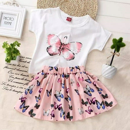 Butterfly Baby Girls Dress Toddler Kids T-shirt +Skirts Outfits Clothes Set