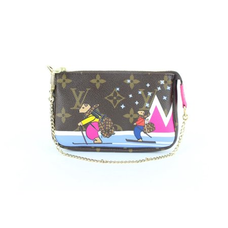 Pochette Limited Ski Polar Bear Monogram Pink Mini Accesoires 7lz1113 Brown Coated Canvas