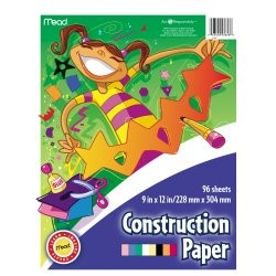 """Mead Construction Paper, 96 Sheets, 9"""" x 12"""", Assorted Colors"""