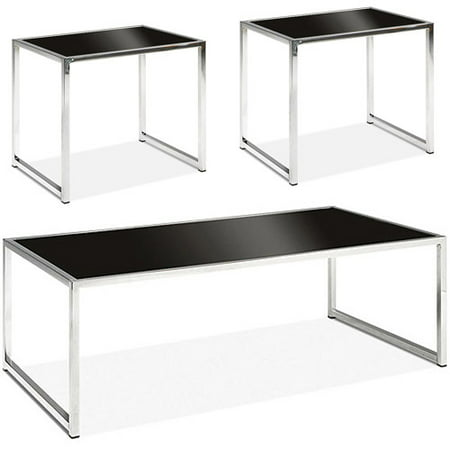 Avenue Six Yield 3-Piece Coffee & End Tables Value Bundle, Chrome and Black Glass ()