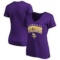 Women's Fanatics Branded Purple Minnesota Vikings Faded Arch V-Neck T-Shirt
