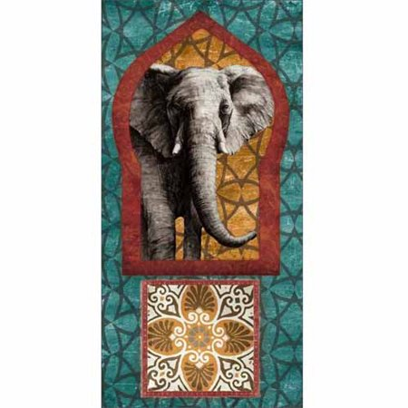 Moroccan Keyhole Elephant Archway Tribal Pattern Abstract Tile Emblem Painting Blue & Red Canvas Art by Pied Piper Creative