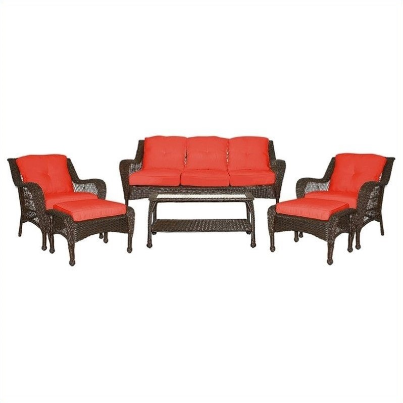 Jeco 6pc Wicker Seating Set in Espresso with Red Cushions by Jeco Inc.