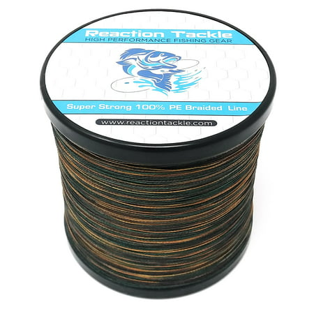 Reaction Tackle Braided Fishing Line Green Camo 30LB - Braided Fishing Line
