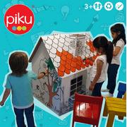 Piku Cardboard Playhouse for Kids to Color