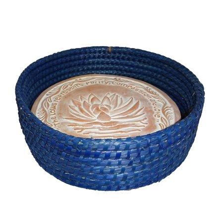 Handwoven Bread Roll Basket w Lotus Terracotta Warming Tile Stone 11 Inch Width (Colbalt Blue) ()