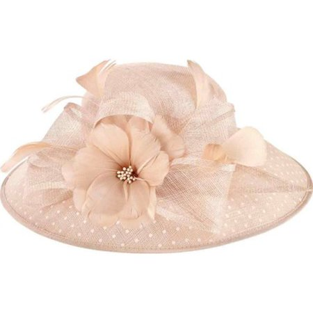 Women's San Diego Hat Company Sinamay Hat w/ Dot Overlay & Feather Trim DRS1013