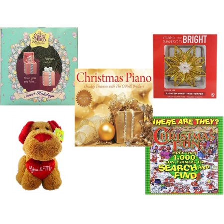 - Christmas Fun Gift Bundle [5 Piece] - 1994 Precious Moments Pop up  Ornament - Deck The Halls Lighted Burst Gold Tree Topper -  Piano  Treasures with The O'Neill Brothers CD - Love is…You & Me  Dog