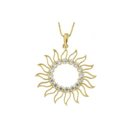 3436a0077c9beb Beauniq - Beauniq 14k Yellow Gold Cubic Zirconia Open Sun Pendant Necklace  - Walmart.com