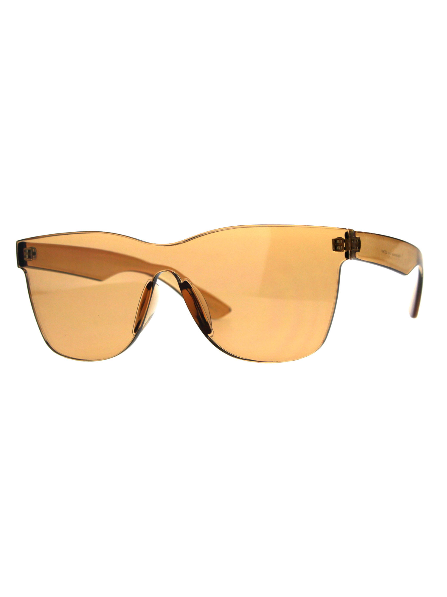Mens Geeky Hipster Shield Nerd Mirrored Plastic Horn Rim Sunglasses