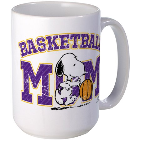 CafePress - Snoopy Basketball Mom Large Mug - 15 oz Ceramic Large Mug Basket Large Mug