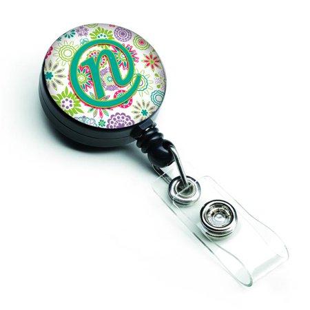 Carolines Treasures CJ2011-NBR Letter N Flowers Pink & Teal Green Initial Retractable Badge Reel - image 1 of 1