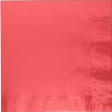 50 Plain Solid Colors Luncheon Dinner Napkins Paper - Coral - Coral Paper Napkins