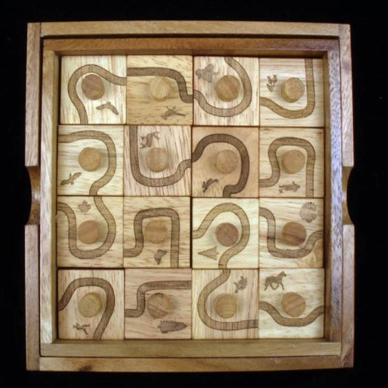 Trail Run Wood Brain Teaser Puzzle Edge Match to Complete Path by