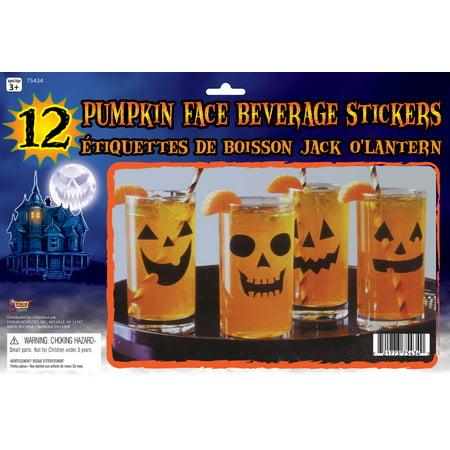 Jack-O-Lantern Pumpkin Face Beverage Stickers Decals Halloween Party Supplies