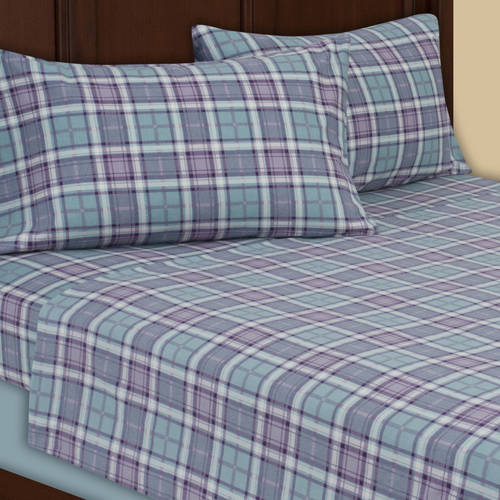 Mainstays Soft & Cozy Flannel Sheet Set, 100% Cotton, Teal Plaid Print