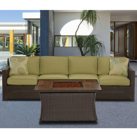 Haven 3 Light - Cambridge Outdoor Haven 3-Piece Woven Fire Pit Set in Green
