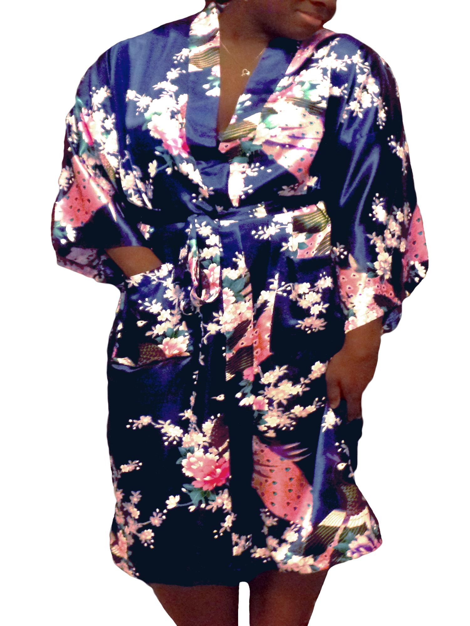 Floral Satin Womens Plus Size Robes, Sizes 20-38, Lightweight Sleepwear Robe Kimono, Knee Length