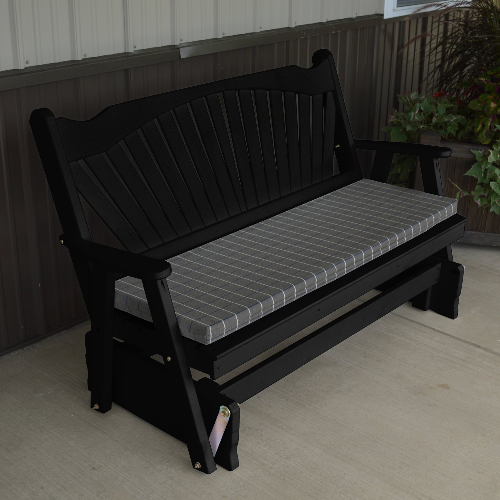 A & L Furniture Yellow Pine Fanback Outdoor Bench Glider