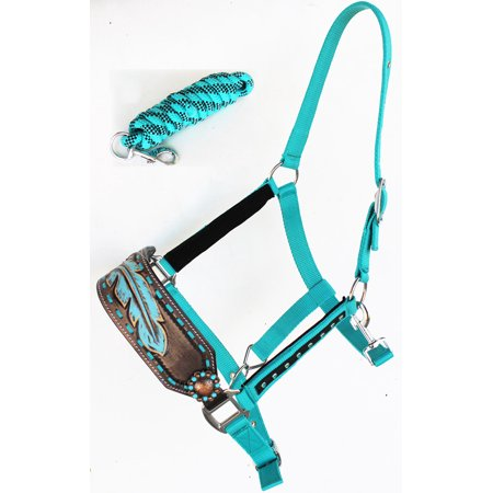 Quality Horse Halter (Horse Noseband Tack Bronc Leather HALTER Tiedown Lead Rope  280M33)