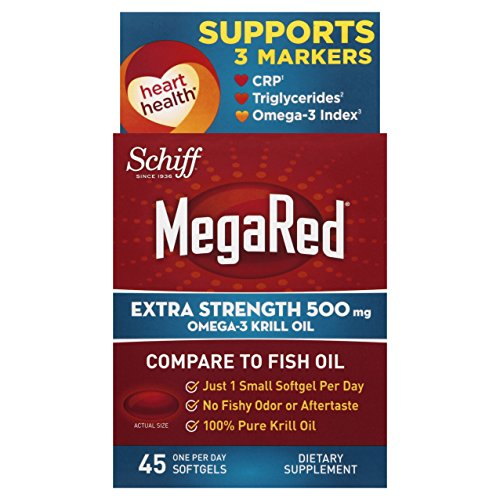 4 Pack Schiff MegaRed EXTRA STRENGTH Omega-3 Krill Oil 500 mg 45 SoftGels Each