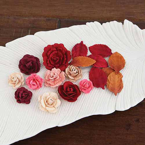 Prima Flowers LARA-57683 Laraine Handmade Paper Flowers and Leaves . 75 inch To 1. 5 inch 12 Each-Candy Apple