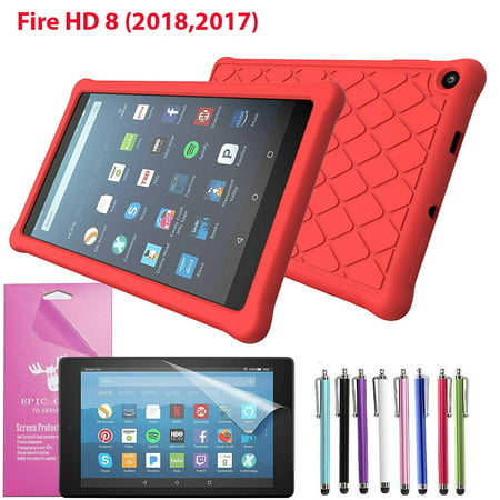 - Amazon Fire HD 8 Tablet (8th Generation 2018) Silicone Case, Epicgadget Slim Anti-Slip Soft Rubber Silicone Gel Case Cover For Fire HD 8.0 Inch 2018 (Red)