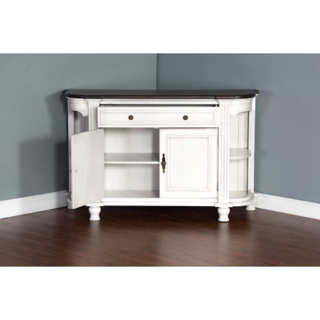 (Birch Wood Buffet With Adjustable Shelf, White)