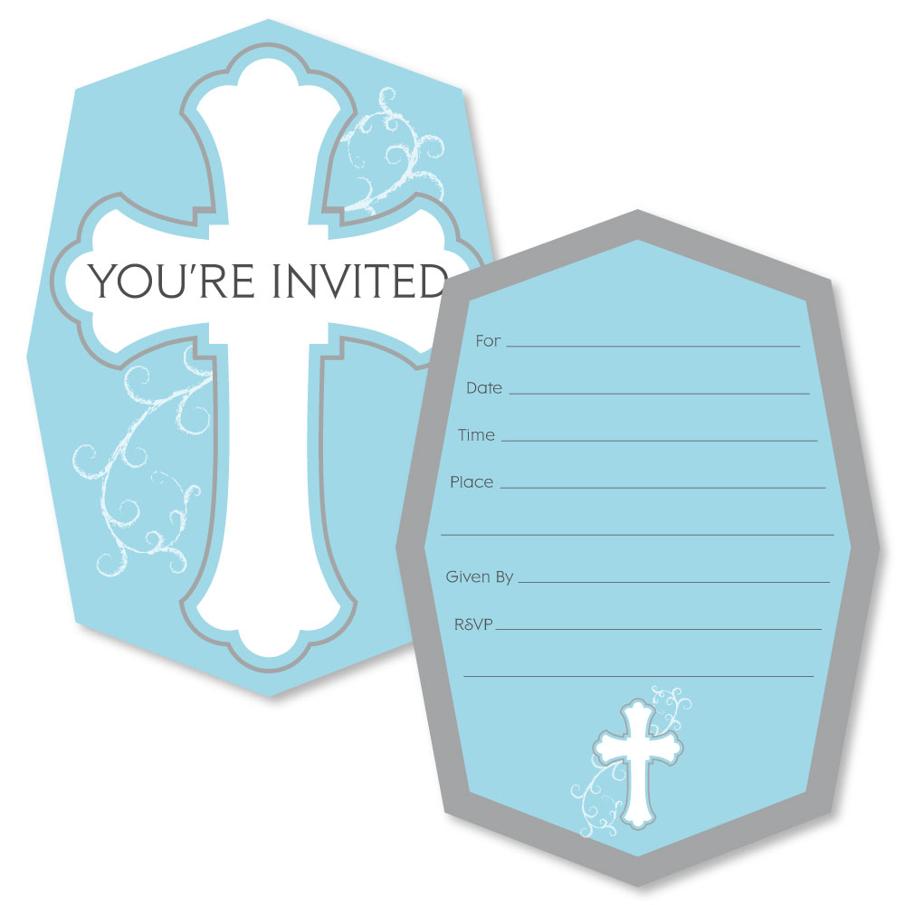 Little Miracle Boy Blue & Gray Cross - Shaped Fill-In Invitations - Baptism or Baby Shower Invitation Cards - 12 Ct