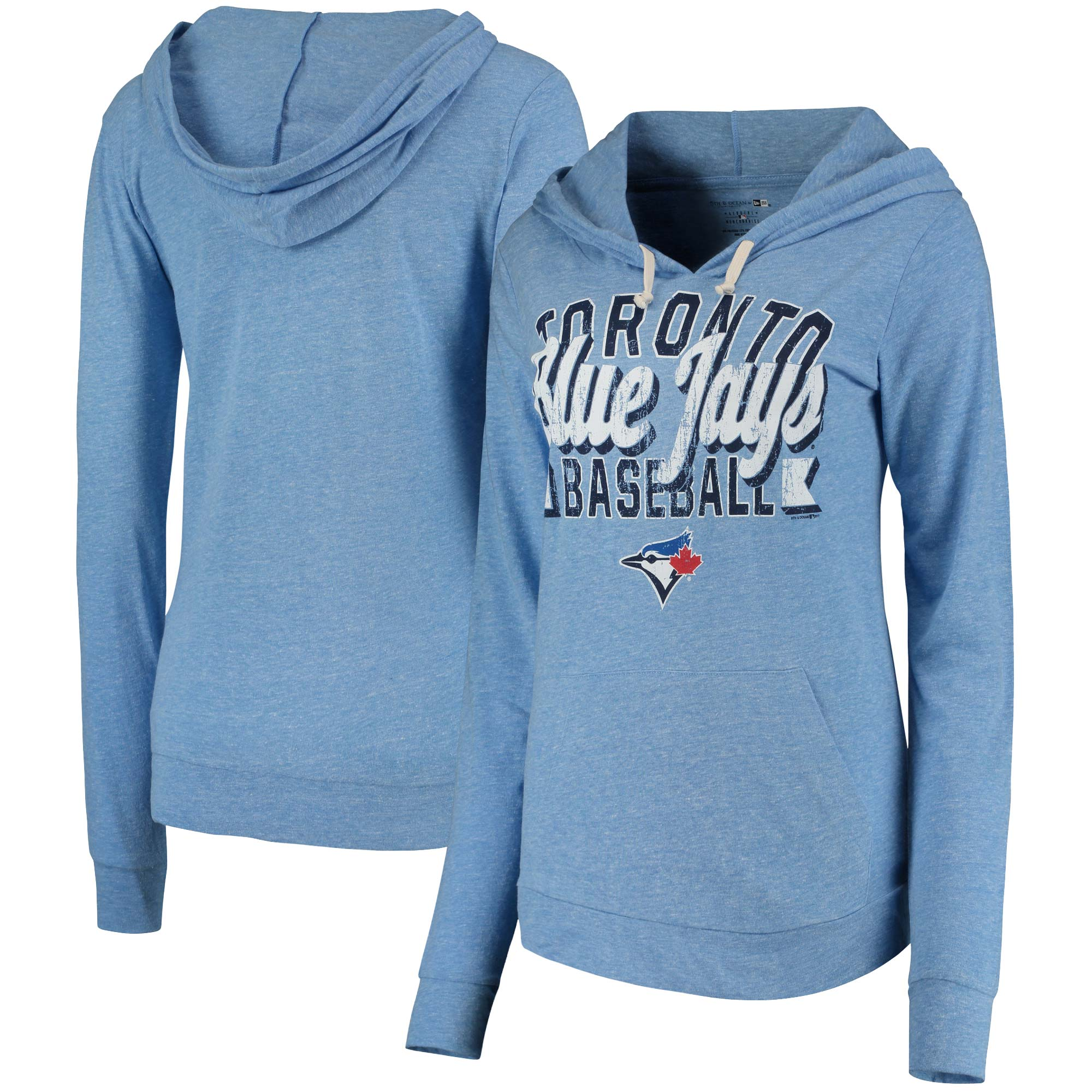 Toronto Blue Jays 5th & Ocean by New Era Women's Jersey Tri-Blend Pullover Hoodie - Royal