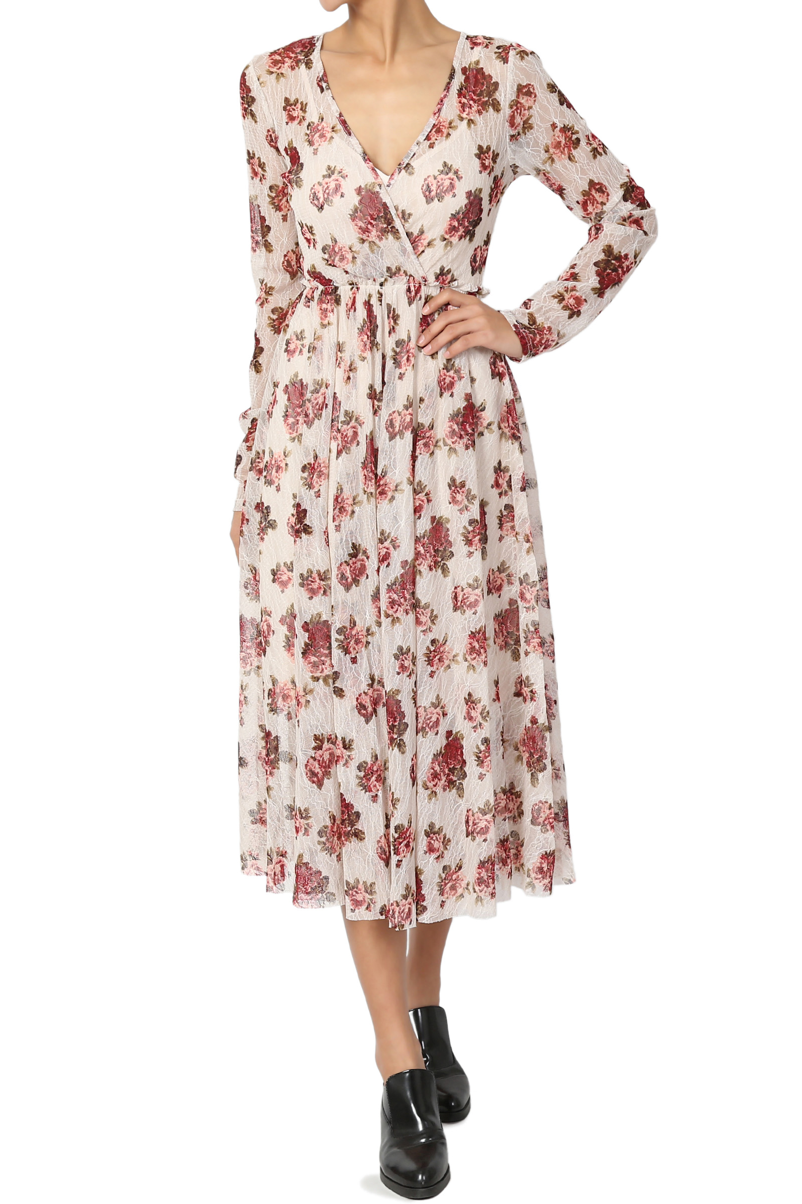 TheMogan Junior's Floral Print Lace Long Sleeve Fit & Flare A-Line Midi Dress