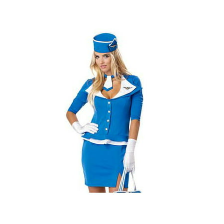 California Costume Collections Retro Stewardess Costume 01209CAL Blue - Retro Waitress Costume