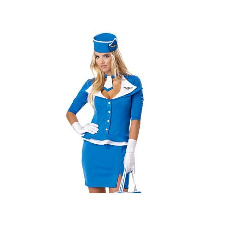 California Costume Collections Retro Stewardess Costume 01209CAL Blue